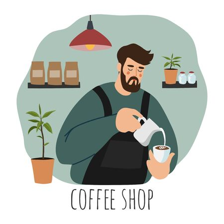 Coffee shop, barista. Flat vector illustration of a young man wearing apron pouring whipped milk into the coffee cup. Hand drawn cartoon character