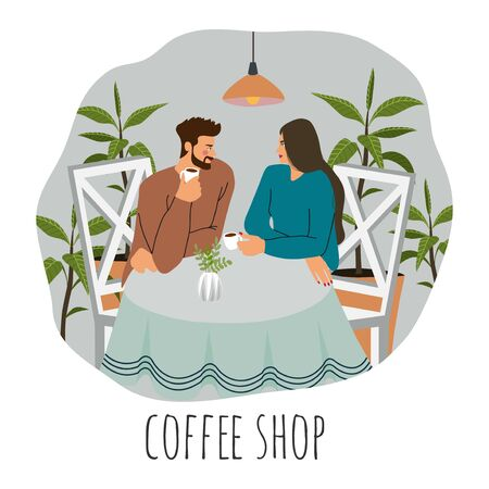 Coffee shop visitors. Flat vector illustration of a young couple, sitting at the table with coffee, lamps above surrounded by plants Иллюстрация