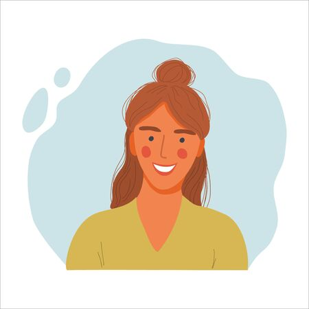Emotional Women portrait, hand drawn flat design concept illustration of girl, happy female face and and shoulders avatars. Vector icons Иллюстрация