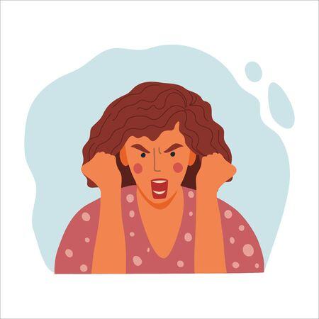Portrait émotionnel des femmes, illustration du concept de design plat dessiné à la main d'une fille en colère, d'un visage féminin et d'un avatar de poings serrés. Icône de vecteur Vecteurs