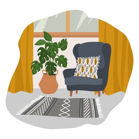Interior of a cozy Scandinavian style room with a soft gray armchair with a decorative pillow, yellow curtains, a knitted rug and a large flower pot in a wicker basket. Vector flat illustration