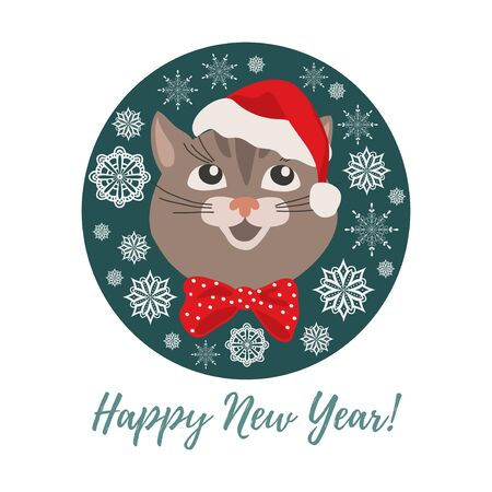 Merry Christmas and Happy New Year. Isolated smiling cartoon face of cat in a Christmas hat in circle. Cute vector illustration. Иллюстрация
