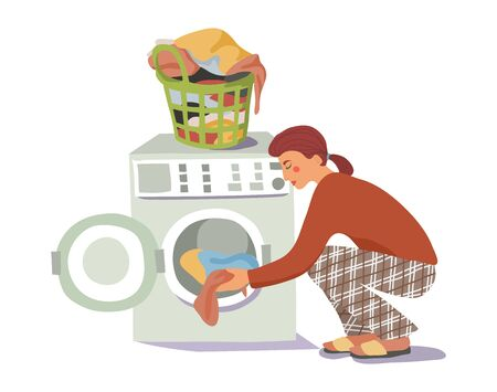 The girl loads the dirty laundry into the washing machine. Woman washes. Hand-drawn vector flat cartoon illustration. Иллюстрация