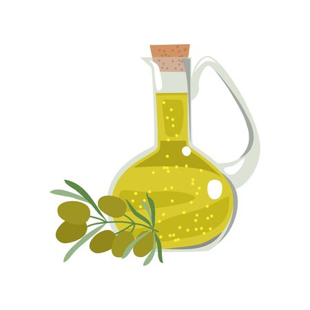 Isolated glass bottle with olive oil and a sprig with fruits and olive leaves. Vector flat illustration on a white