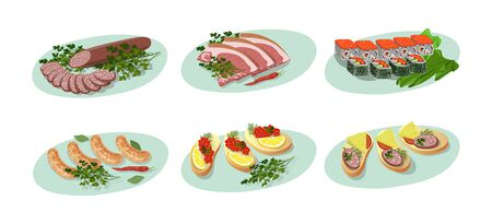 Set of isolated cold cuts and sandwiches. Appetizers with sausage, ham and caviar. Vector flat .