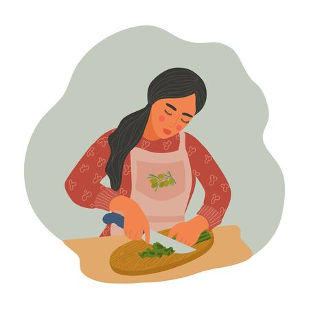 Woman is cooking natural healthy food. Girl in an apron cuts greens into salad. Flat cartoon vector illustration
