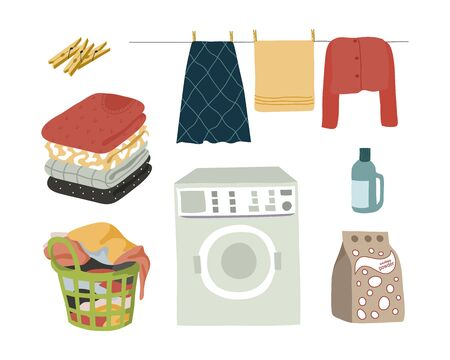 Laundry set isolated elements powder, washing machine, wet clothes with clothespins, folded clothes and a basket with dirty linen. Vector flat illustration.