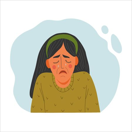 Emotional Women portrait, hand drawn flat style design concept illustration of crying girl, female face in tears and shoulders avatars. Vector