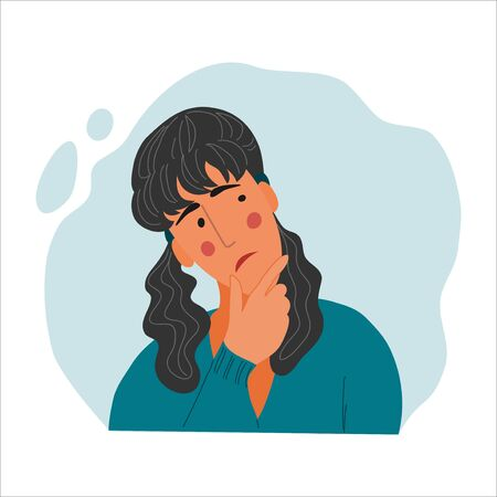 Emotional Women portrait, hand drawn flat style design concept illustration of pensive girl, female face and shoulders avatars. Vector