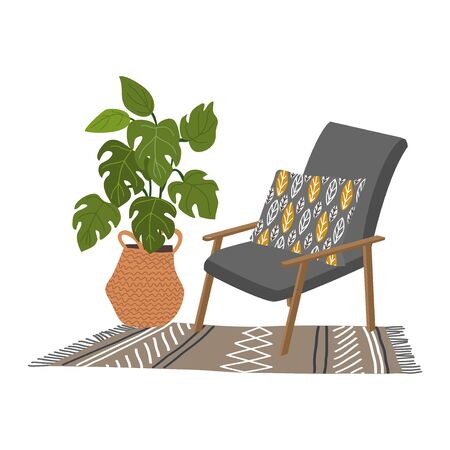 Interior of a cozy Scandinavian style room with a soft gray armchair with a decorative pillow, a knitted rug and a large flower pot in a wicker basket. Vector flat illustration Иллюстрация