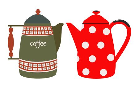 Vintage red-green with a wooden handle antique jug and red with white polka dots pitcher. Isolated flat vector Иллюстрация