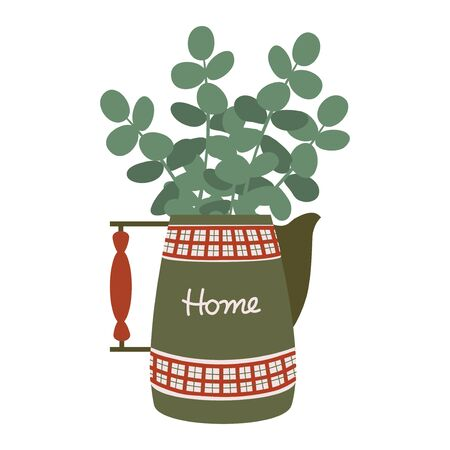 Vintage red-green jug with a wooden handle and a bouquet of eucalyptus branches. Antique pitcher with a trendy plant. Isolated flat vector