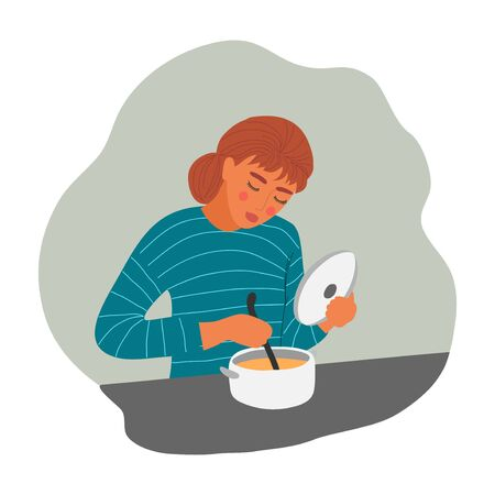 The girl is cooking soup. Young woman with pan and ladle. Vector flat illustration