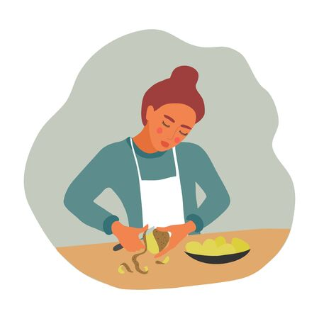 Girl peeling potatoes for cooking. A young woman with a knife and a vegetable prepares food. Vector flat illustration