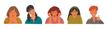 Emotional Womens portraits set, flat design concept illustration of girls, female faces and shoulders avatars. Vector icons hand draw collection