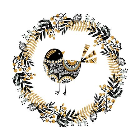 Cute vector bird and a wreath of their plants, flowers and berries. Monochrome black and white vector illustration in scandinavian style. Иллюстрация