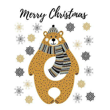 Art vector monochrome Christmas illustration with cartoon bear and snowflakes on white background. Artwork for use in design cards or posters of scandinavian style Иллюстрация