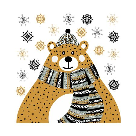Art vector monochrome Christmas illustration with cute cartoon bear and snowflakes on white background. Artwork for use in design of scandinavian style Иллюстрация