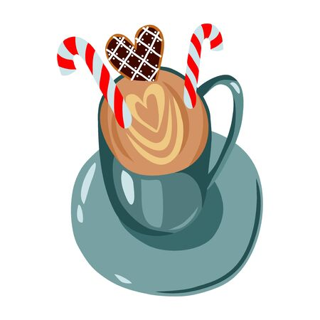 Isolated cute vector christmas illustration: cup with coffee, candies and gingerbread. Hot cocoa, sweets and cookies on a white background.