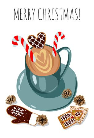 Cute vector christmas illustration: cup with coffee, candies and gingerbread. Hot cocoa, sweets and cookies on a white background. Template for cards or posters Иллюстрация