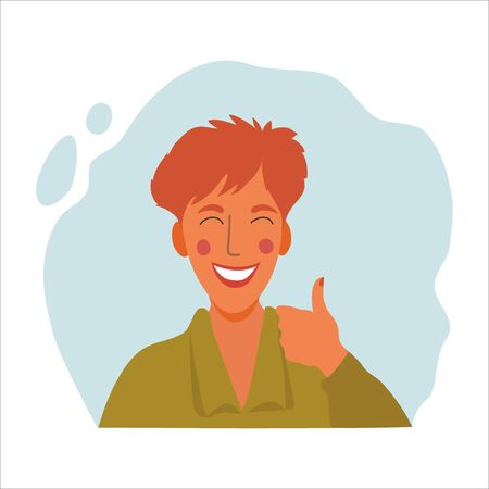 Women emotional portrait, hand drawn flat style design concept illustration of girl, happy female face with thumb up avatars. Vector Иллюстрация