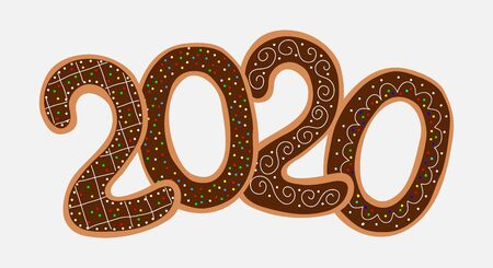 Gingerbread numbers 2020, cookies on a white background. Christmas greeting card template. Vector