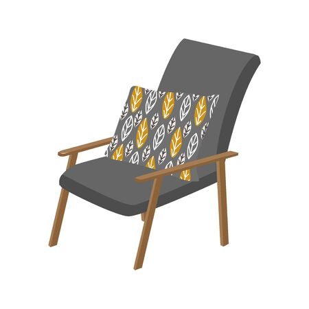 Isolated scandinavian style armchair and pillow with pattern. Cute vector flat hand-drawn illustration