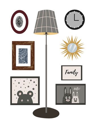 A set of wall decor items for the interior: paintings, posters, watches, a mirror and a floor lamp. Vector flat illustration. Иллюстрация
