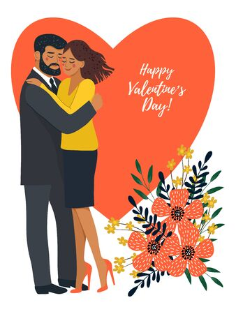 Isolated on white background hugging couple in love with heart and bouquet of flowers. Cute flat valentines day vector illustration Иллюстрация