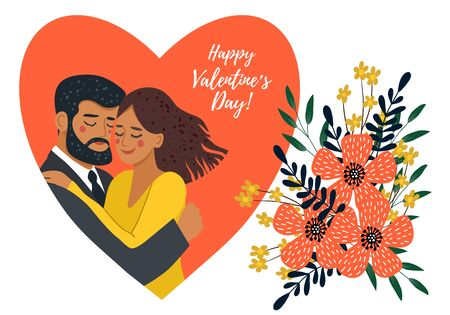Isolated on white background hugging couple in heart and bouquet of flowers. Cute flat valentines day vector illustration
