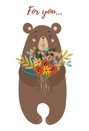 Hand drawn character cute bear with bouquet of flowers for decoration design, cards or posters. Childish vector