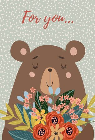 Hand drawn character cute face bear with bouquet of flowers for decoration design, cards or posters. Childish vector