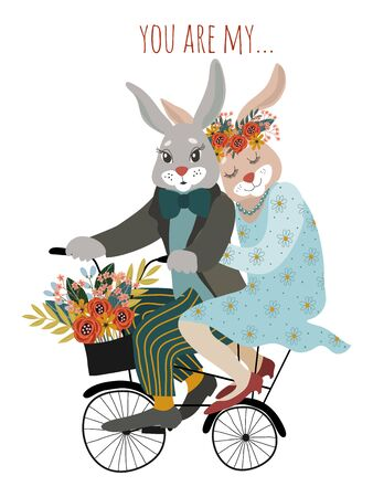 A couple of rabbits in love on a bicycle with a bouquet of flowers isolated on a white background. Cute vector valentines day card. Иллюстрация