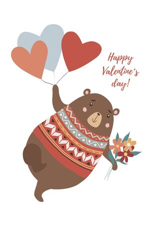 Cute bear with bouquet of flowers flying on the heart-shaped balloons in hand drawn style Иллюстрация