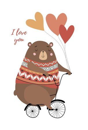 I love you. Cute bear on a bicycle with heart-shaped balloons in hand drawn style on white. Funny vector illustration. Иллюстрация