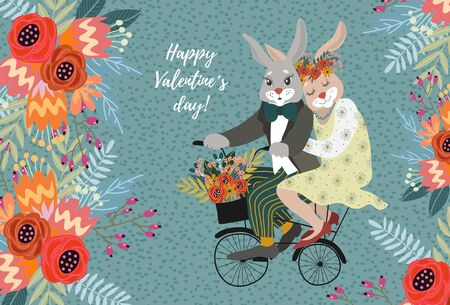 A couple of rabbits in love on a bicycle with a bouquet of flowers. Cute vector valentines day card.