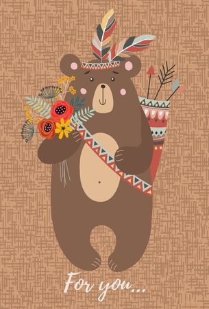 Hand drawn character cute tribal bear with bouquet of flowers,feathers and arrows for decoration design, cards or posters. Childish vector