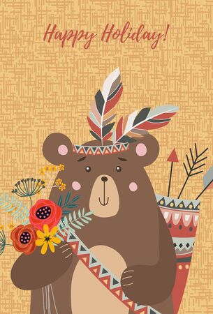 Hand drawn character cute face tribal bear with bouquet of flowers,feathers and arrows for decoration design, cards or posters. Childish vector