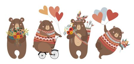 Set of Hand drawn cute bears: on the bicycle, with bouquet of flowers, feathers and balloons for decoration cards or posters. Childish vector illustration