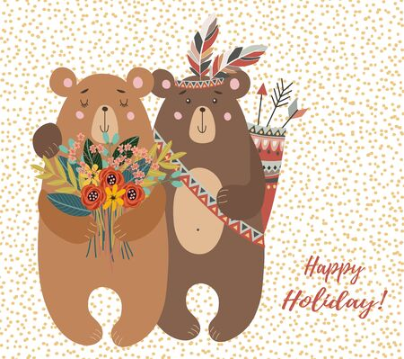 Hand drawn cute two bears with bouquet of flowers and tribal feathers for design of cards or posters. Childish vector illustration on a white background