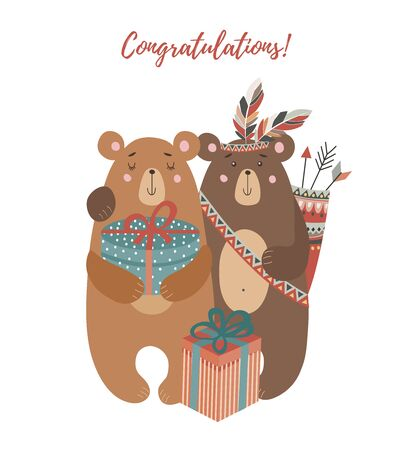 Hand drawn cute two bears: with bouquet of flowers ,tribal feathers and gifts for design of cards or posters. Childish vector illustration on a white background Иллюстрация
