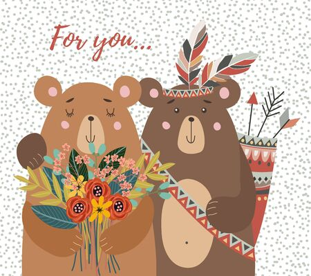 Hand drawn cute two bears with bouquet of flowers and tribal feathers for decoration cards or posters. Childish vector illustration on a white background