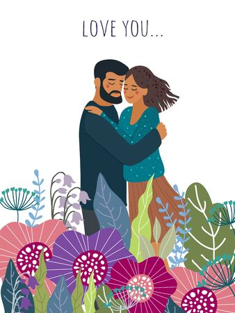Love you. Hugging couple among the flowers . Cute flat valentines day vector illustration
