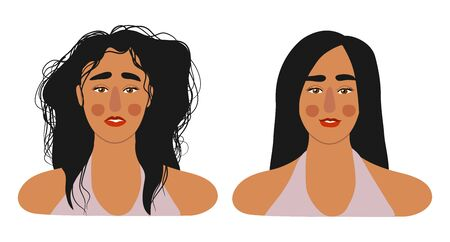 Faces of girls with long hair, with shaggy and combed. Isolated on white flat vector illustration. Illusztráció