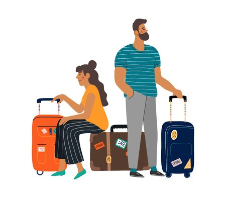 A waiting man and woman with suitcases. Isolated cartoon flat vector illustration on white