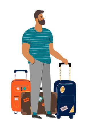 A waiting man with suitcases. Isolated cartoon flat vector illustration on white