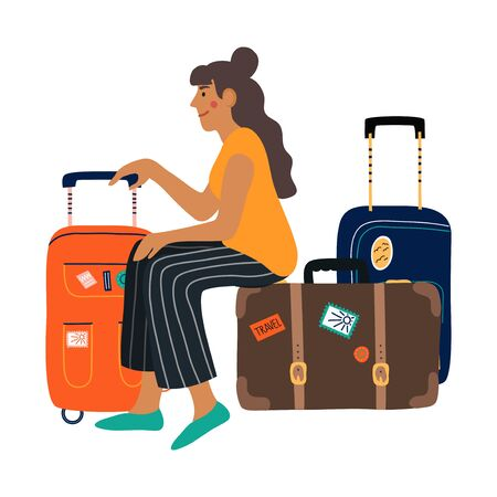 A waiting woman with suitcases. Isolated cartoon flat vector illustration on white