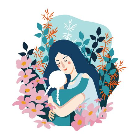Happy Mothers Day. Woman hugs her little daughter . Vector cute flat illustration
