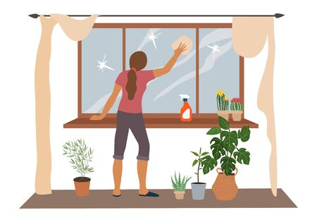 Spring House cleaning, woman washes a window in the flat. Vector illustration Vettoriali