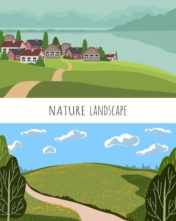 Set of Vector panoramic illustration of beautiful fields landscape, green hills, village surrounded by mountains and the sea. Background in flat cartoon style